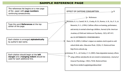 Sample APA Reference Page from CSN